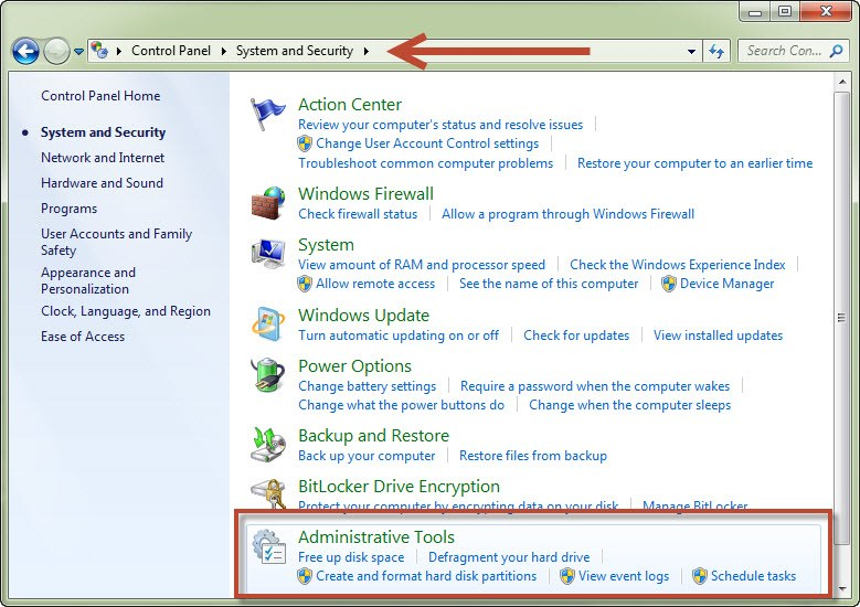 Administrative Tools pada Windows 7
