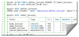 Merubah Tabel (ALTER TABLE) MySQL