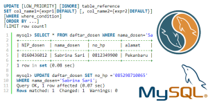 Tutorial Belajar MySQL Update data Tabel dengan query UPDATE