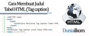 Tutorial HTML Cara Membuat Judul Tabel HTML (Tag caption)