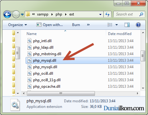 file php_mysql.dll pada folder ext PHP