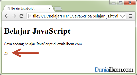 Cara menampilkan hasil program javascript aisatul muthoharoh for Window onload javascript