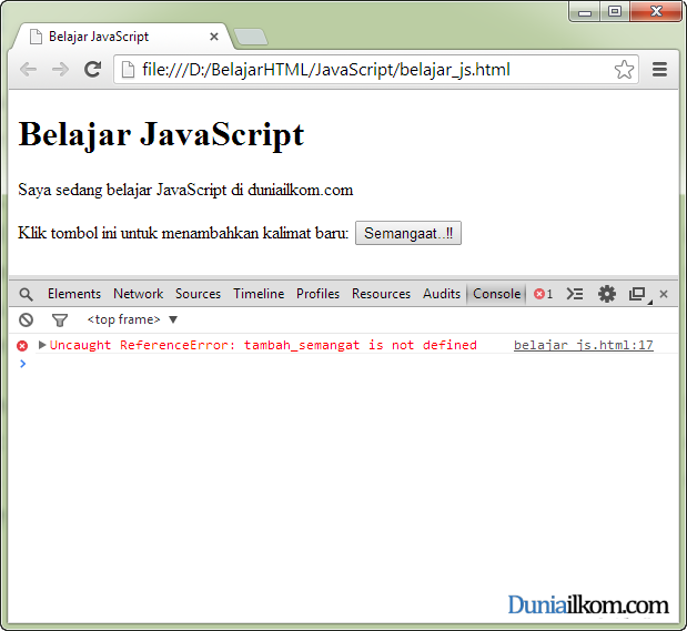 Contoh Error JavaScript pada menu Develepor Tools Google Chrome