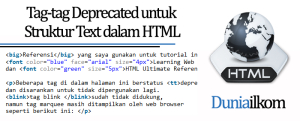 Tutorial Text HTML - Tag-tag Deprecated untuk Struktur Text dalam HTML