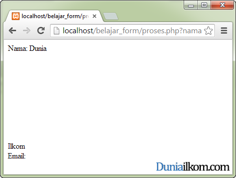 Tampilan HTML Injection pada halaman Form
