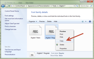 Copy font digital dari folder font Windows