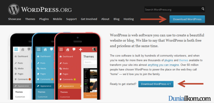 Cara Mendownload WordPress - Halaman Awal wordpress