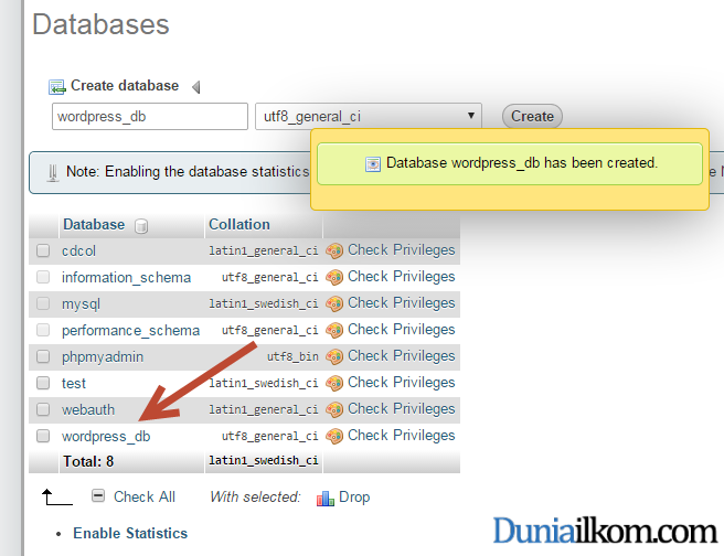 Cara Menginstall WordPress - Database wordpress_db selesai dibuat