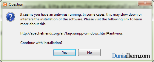 Cara Menginstall XAMPP di Windows - Peringatan Anti Virus