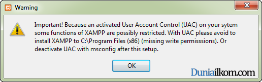 Cara Menginstall XAMPP di Windows - Peringatan UAC