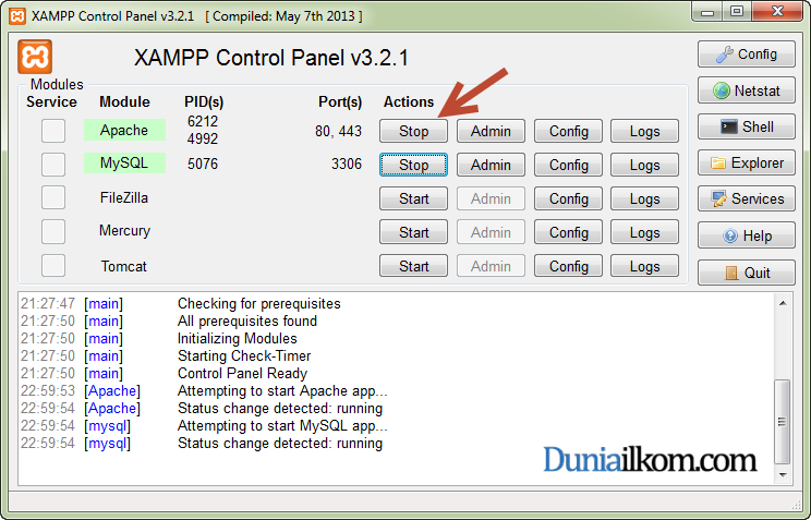 Cara Menginstall XAMPP di Windows - XAMPP Control Panel