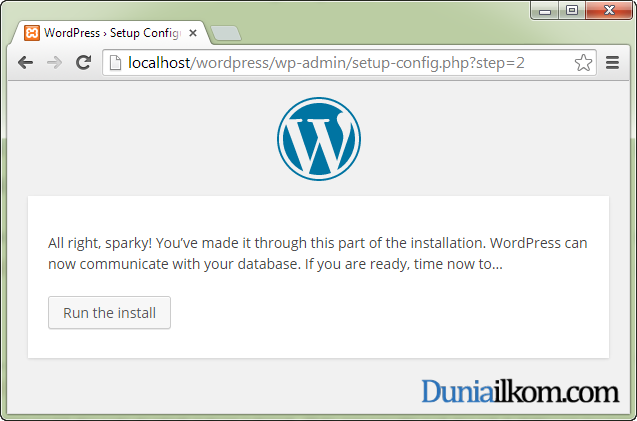 Cara Menginstall WordPress - Settingan database selesai