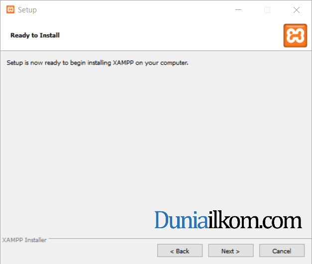 Jendela ready to install XAMPP