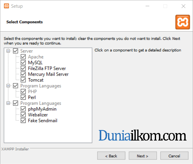 Jendela select components XAMPP