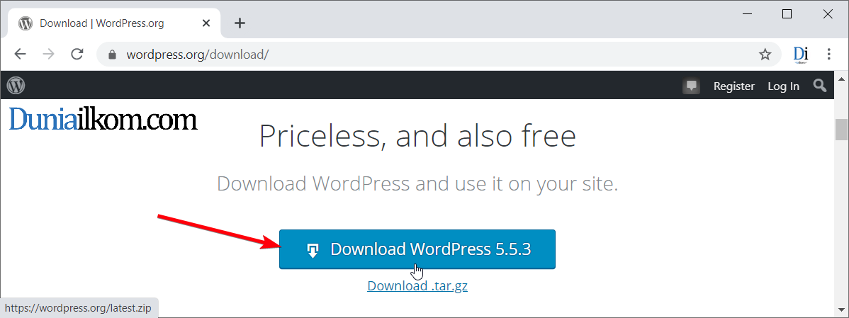 Klik untuk mendownload WordPress