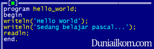 Contoh kode program pascal - hello world