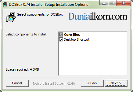 Proses Instalasi DOSBox - Select Component