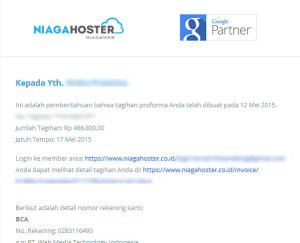 Email Tagihan Web Hosting NiagaHoster