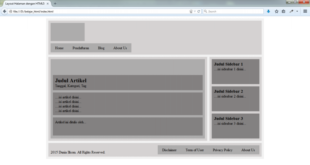 HTML Uncover - Contoh Layout
