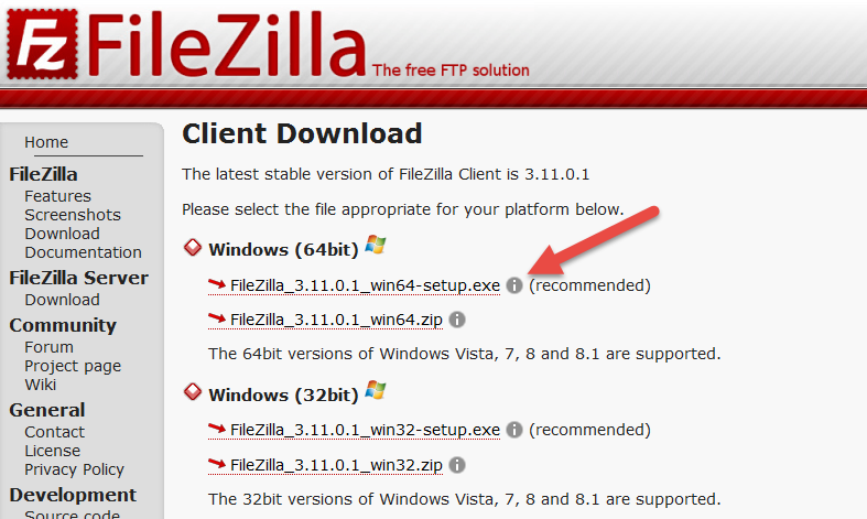 Download FileZilla Client 64-bit Windows