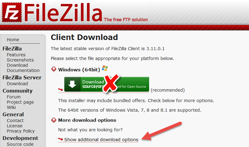 Download Filezilla Client dari SourceForge