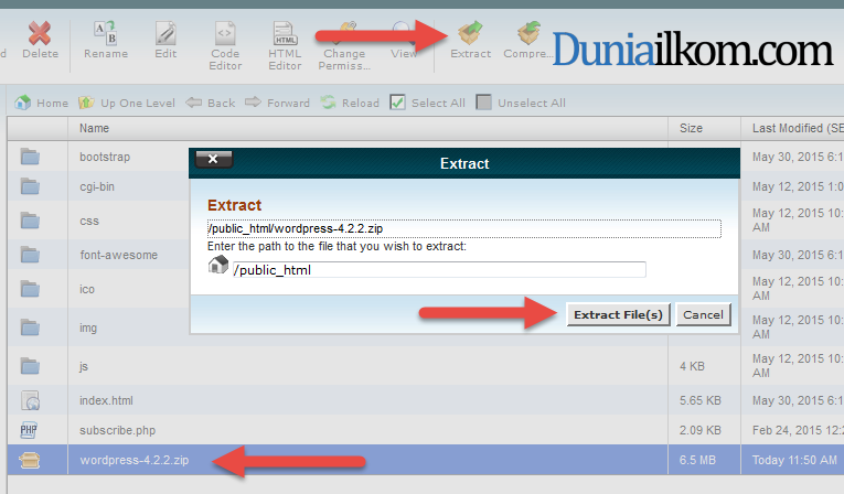 Extract File WordPress ke cPanel