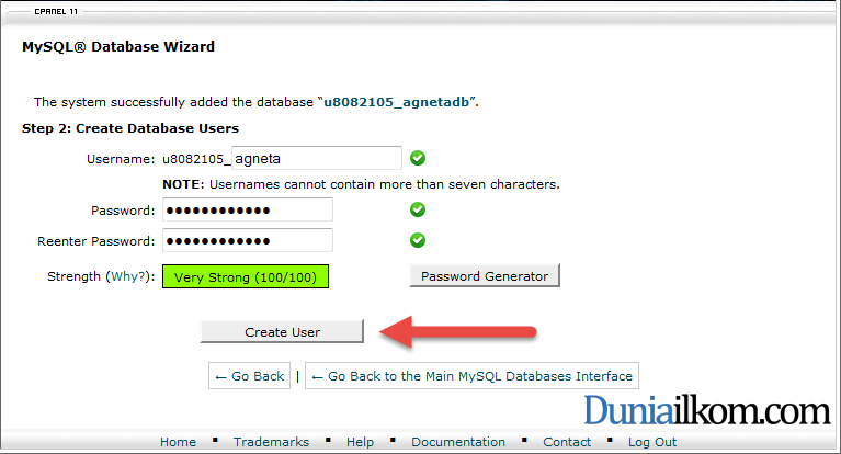 Membuat User Name Database MySQL dalam cPanel