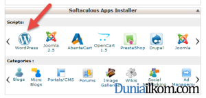 Menu Softaculous Apps Installer di cPanel
