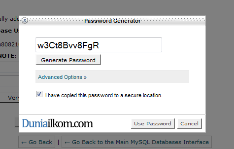 Password Generator untuk membuat database cPanel