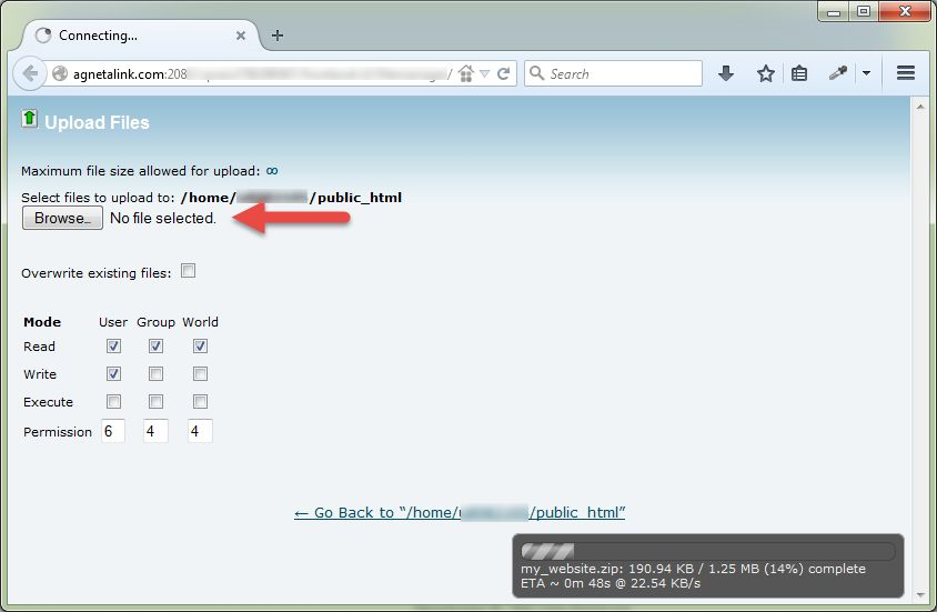 Proses Upload File my_website.zip