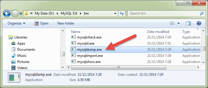 Lokasi folder program mysqldump MySQL