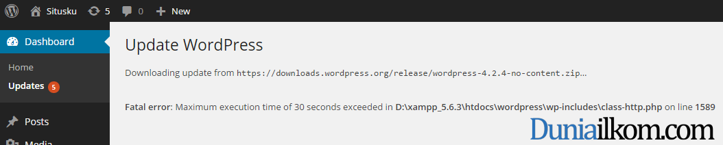 Pesan kesalahan Fatal error - Maximum execution time of 30 seconds exceeded di wordpress
