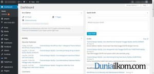 Tampilan Halaman Dashboard WordPress Duniailkom
