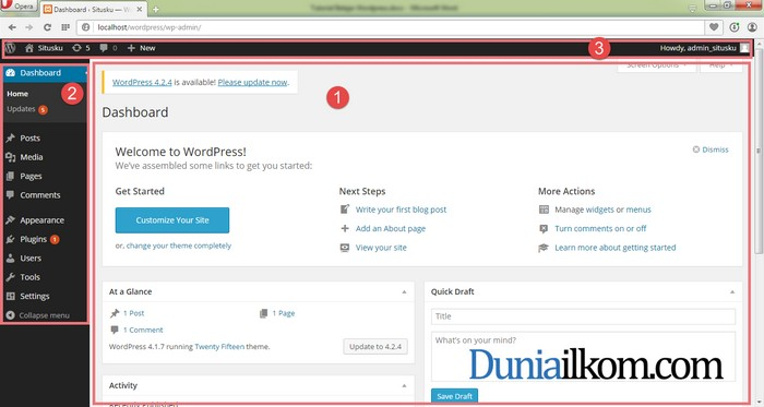 Tampilan Halaman Dashboard WordPress