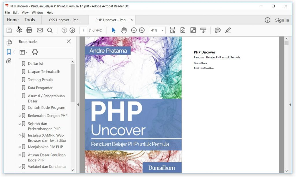 Tampilan eBook PHP Uncover