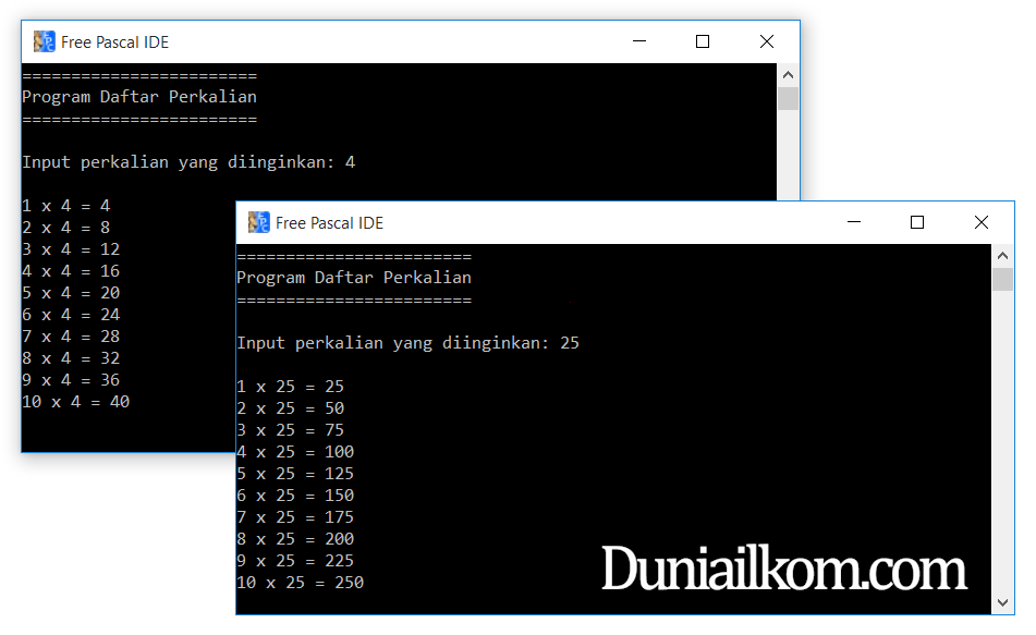 Contoh Program Pascal - Perulangan FOR DO Perkalian dari Input