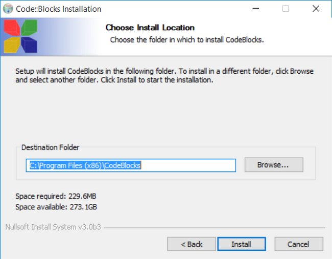 Jendela Choose Install Location Code Blocks