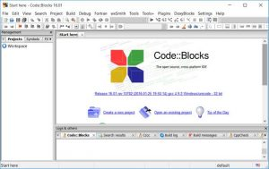 Tampilan IDE Code Blocks