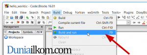 Menu Build dan Run Code Blocks bahasa C