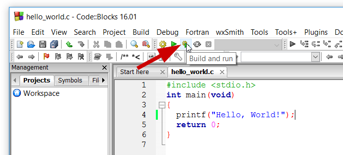 Shortcut untuk Build dan Run Code Blocks bahasa C