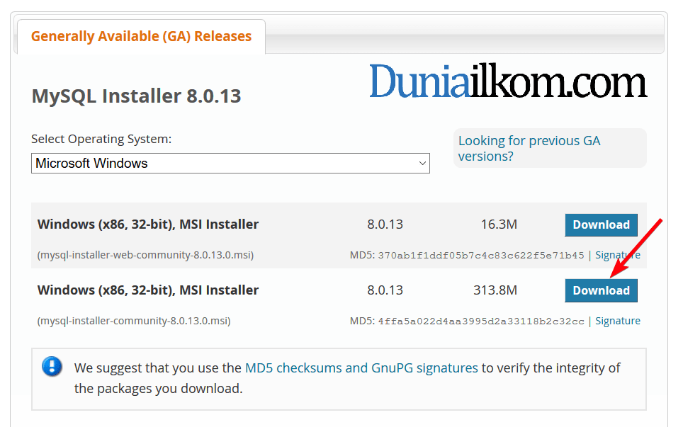 Download MySQL 8.0 stand alone version
