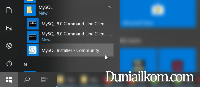 Menu MySQL Installer Community