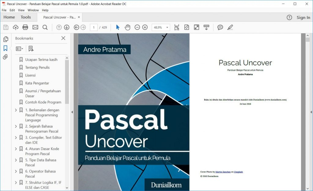 Tampilan eBook Pascal Uncover