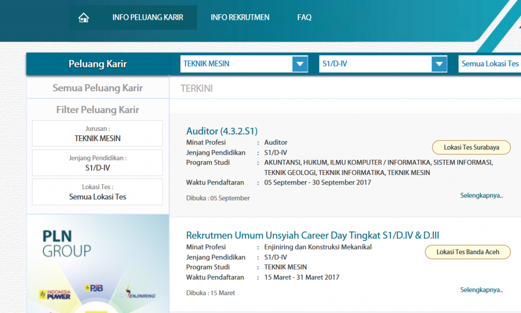 Website karir PLN (rekrutmen.pln.co.id)