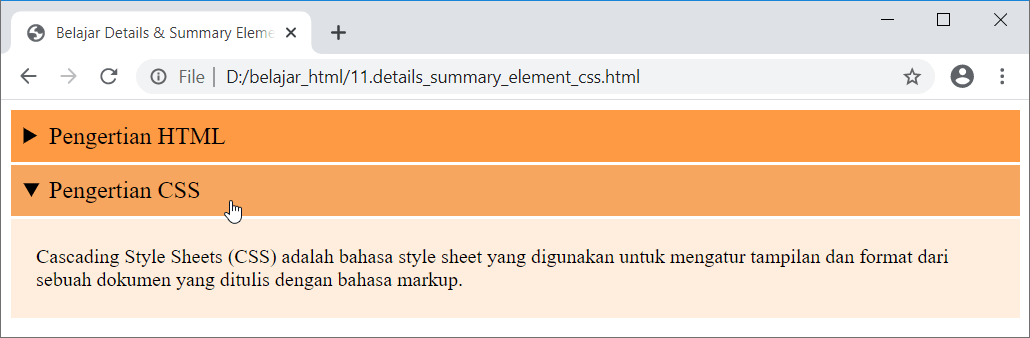 Contoh Latihan HTML Uncover - Details dan Summary Element