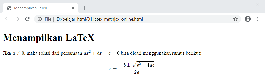 Contoh Latihan HTML Uncover - LaTeX plugin