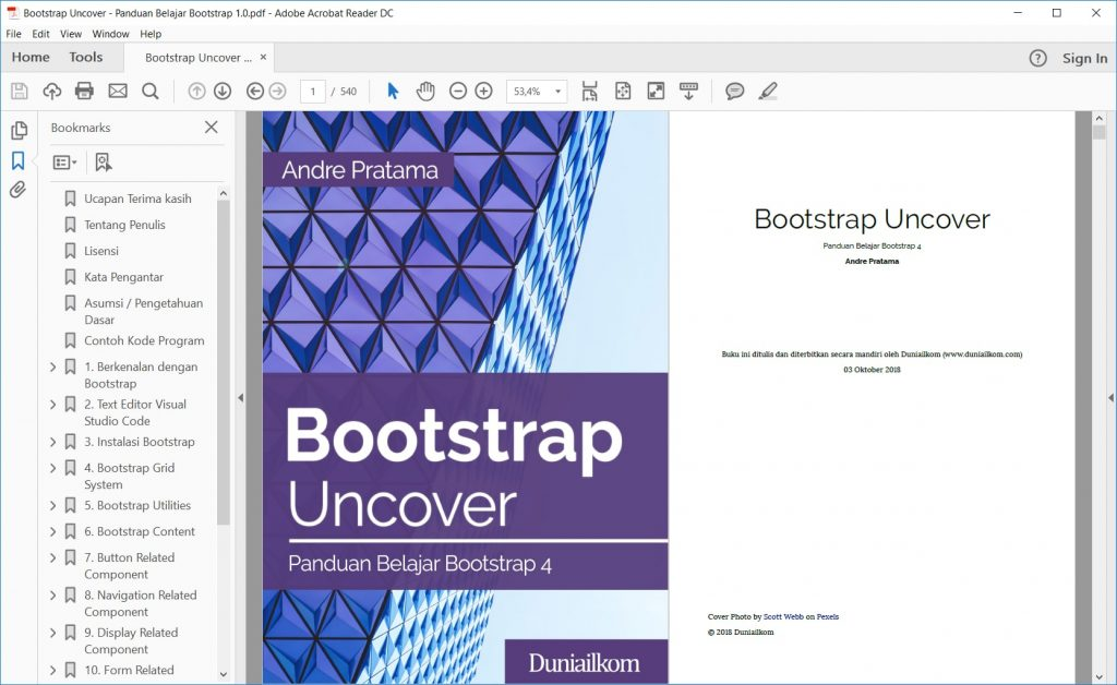 Tampilan eBook Bootstrap Uncover