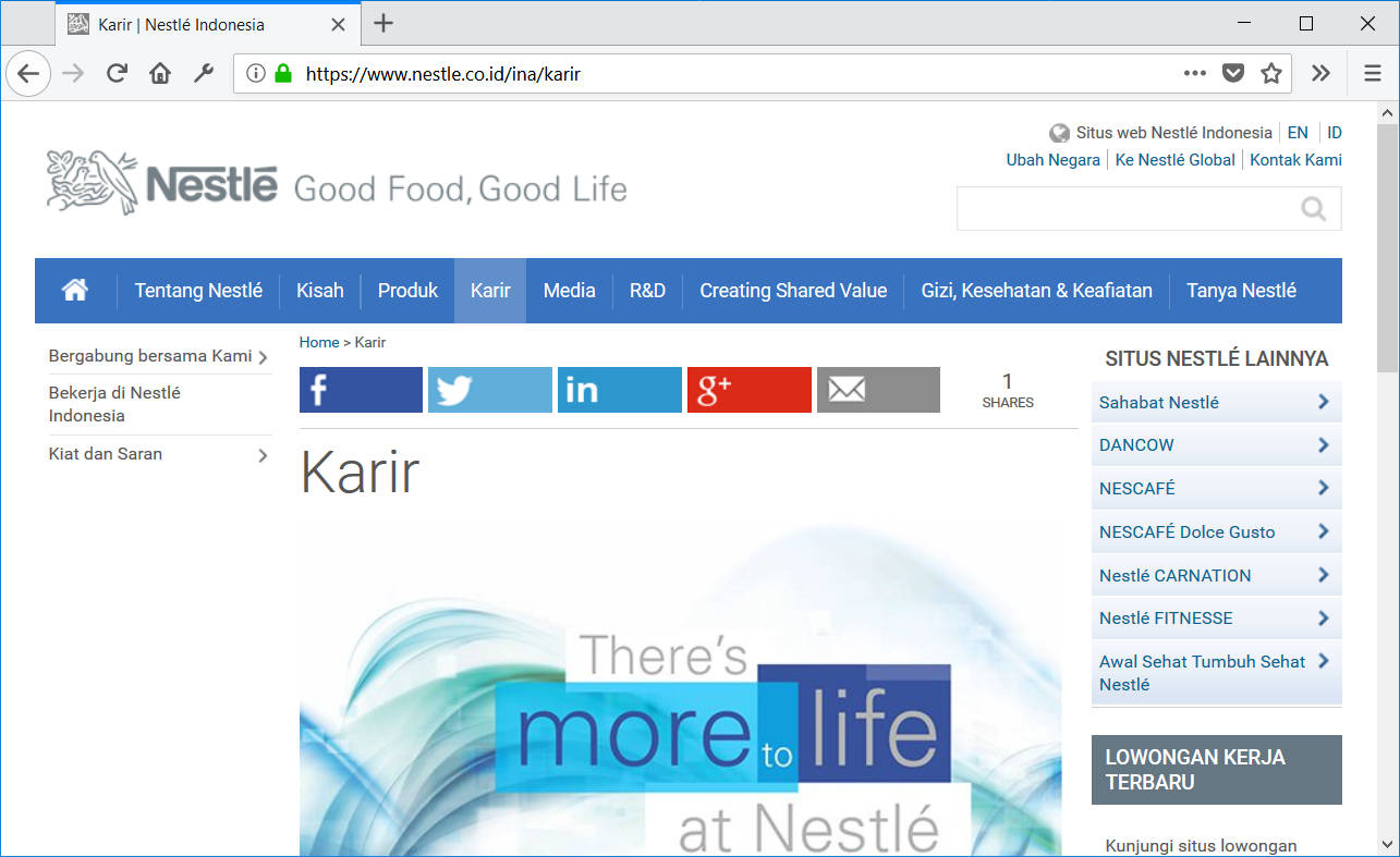 Website karir Nestle Indonesia