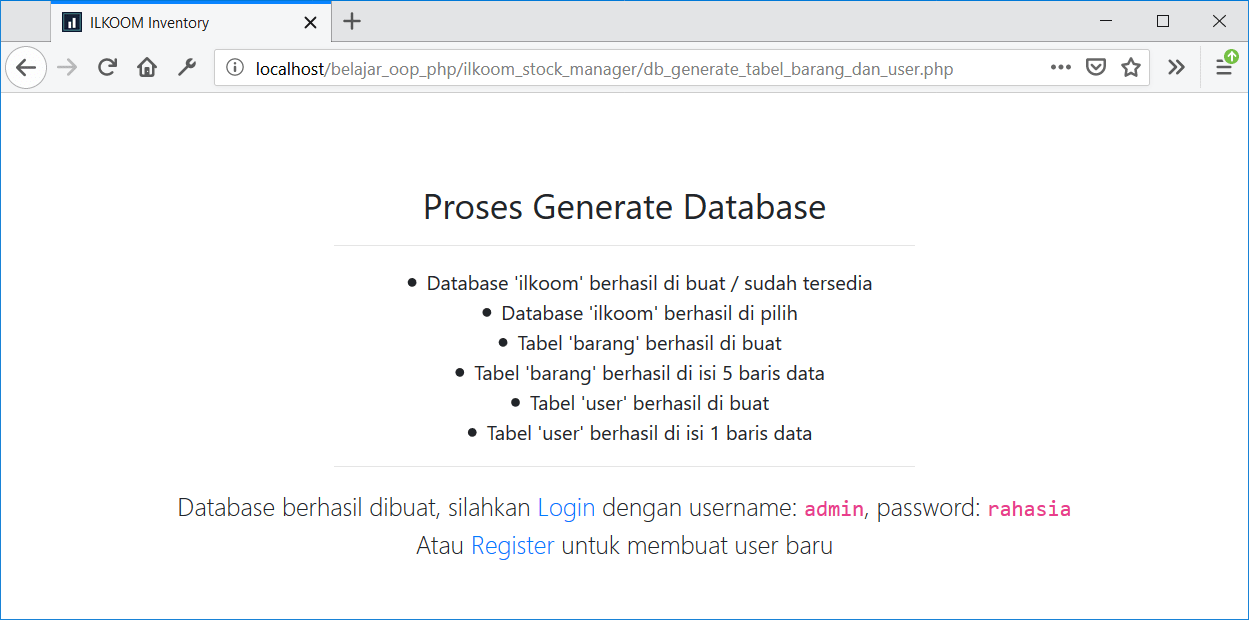 Tampilan studi kasus eBook OOP PHP Uncover - generate database