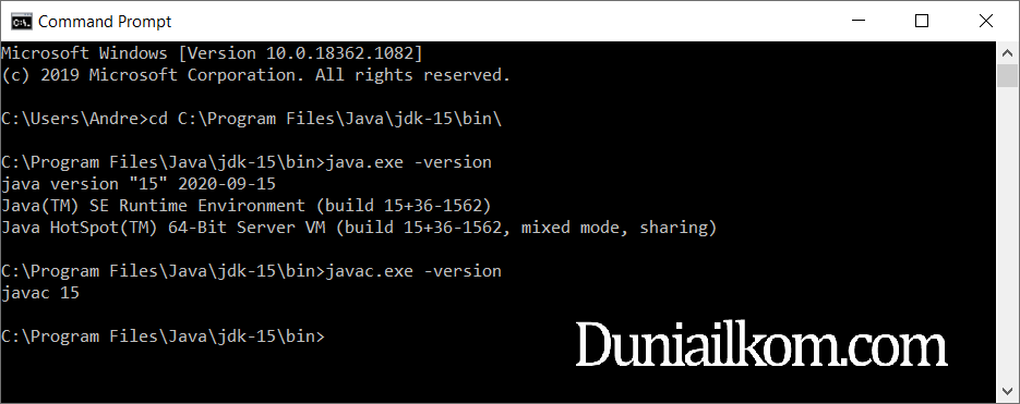 Mengakses file java.exe dan javac.exe dari cmd Windows JDK 15